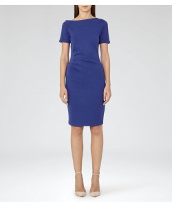 Reiss Milla Sapphire Pleat-Detail Dress