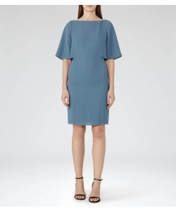 Reiss Mist Marine Fluted Sleeve Dress