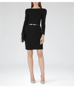 Reiss Nessa Black Puff-Sleeve Jersey Dress