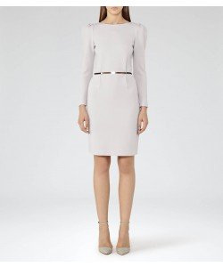 Reiss Nessa Warm Grey Puff-Sleeve Jersey Dress