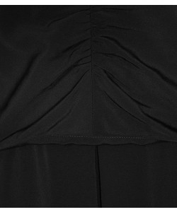 Reiss Nieve Black Pleat-Detail Dress