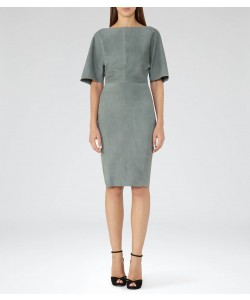 Reiss Nola Moss Suede Dress