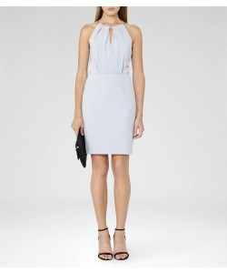 Reiss Odessa Ice Blue Chain Neck Detail Dress