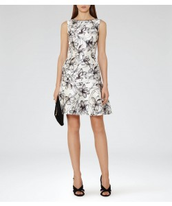 Reiss Onyx Off White/blue Black Peplum Hem Dress