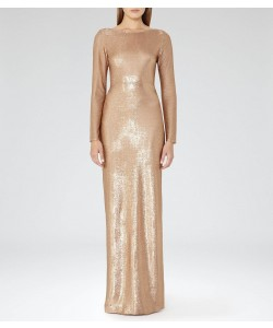 Reiss Orion Orchid Metallic Maxi Dress