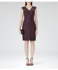 Reiss Otto Garnet Lace Bodycon Dress