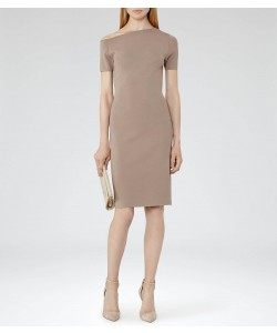 Reiss Palmer Mink Off The Shoulder Dress