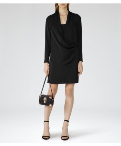 Reiss Perdy Black Wrap Dress