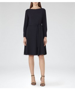 Reiss Primrose Night Navy Waist-Belt Midi Dress