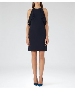Reiss Reva Midnight Ruffle-Detail Dress