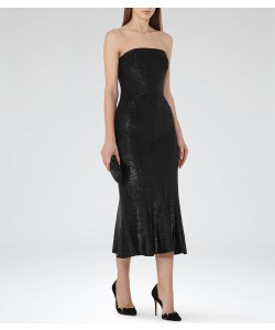Reiss Ricami Gunmetal Sequin-Embellished Midi Dress