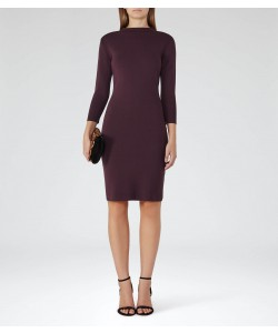 Reiss Rita Berry Knitted Midi Dress