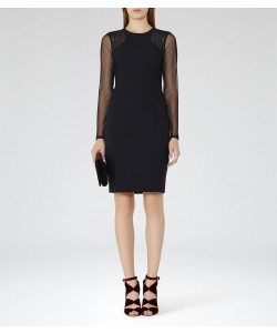 Reiss Robbi Night Navy Mesh-Panel Cocktail Dress