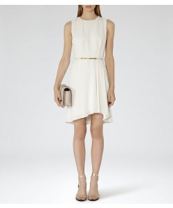 Reiss Rodia Off White Fit And Flare Dress
