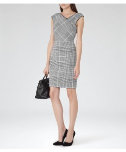 Reiss Rouge Black/off White Houndstooth Tailored Dress