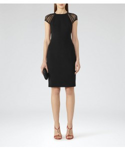 Reiss Rowane Black Sheer Sleeve Dress