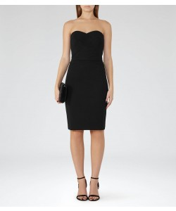 Reiss Sabbia Black Strapless Plisse-Detail Dress