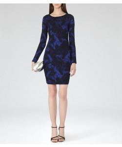 Reiss Saffina Blue/black Jacquard Bodycon Dress