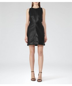Reiss Sahara Black Leather Fit And Flare Dress