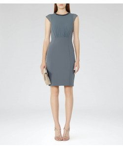Reiss Serre Moss Embellished-Neckline Dress