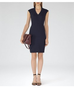 Reiss Seville Dress Navy Tailored Dress