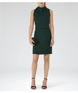 Reiss Sicily Bright Emerald Lace-Back Dress