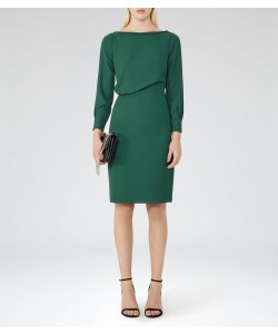 Reiss Simone Pine Green Long-Sleeved Dress