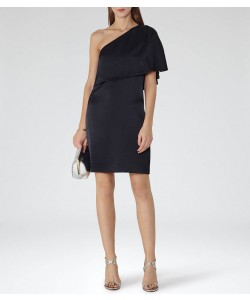 Reiss Solstice Night Navy Asymmetric Shoulder Dress