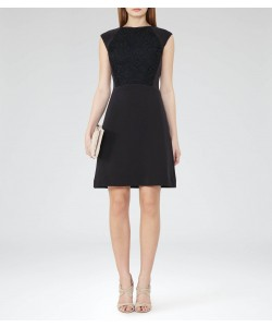 Reiss Talithia Midnight Lace-Panel Dress