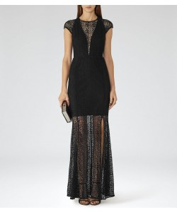 Reiss Tami Black Floor-Length Gown