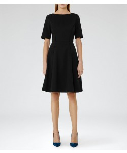 Reiss Tianna Black Fit And Flare Dress