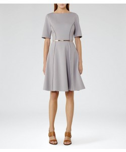 Reiss Tianna Chromatic Blue Fit And Flare Dress