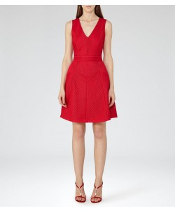 Reiss Topaz Ruby Textured Fit And Flare Dress