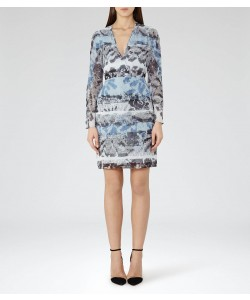 Reiss Valetta Multi Blue Printed Dress