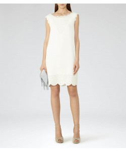 Reiss Vita Off White Laser-Cut Shift Dress