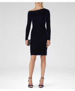Reiss Xeni Midnight Velvet Dress