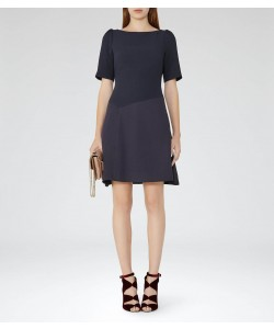 Reiss Zila Night Navy Textured Fit And Flare Dress