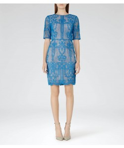 Reiss Zola Bright Blue Lace Dress