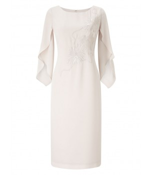 Jacques Vert Embroidered Tunic Dress Mid Neutral Dresses