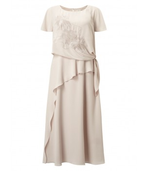Jacques Vert Tie Side Embroidered Dress Mid Neutral Dresses