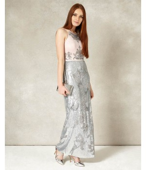 Phase Eight Edaline Full Length Dress Cameo/Silver Dresses