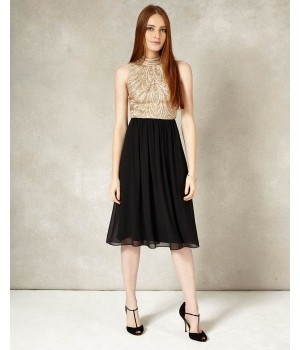 Phase Eight Elfreda Embellished Dress Black/Antique Dresses
