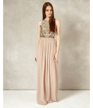 Phase Eight Fergie Beaded Full Length Dress Nude Dresses