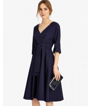 Phase Eight Taylor Tie Front Dress Navy Dresses