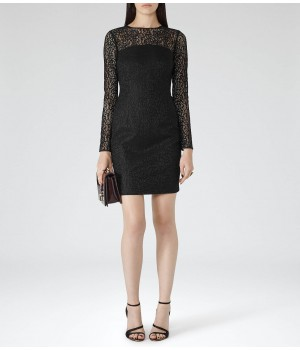 Reiss Celina Black Bonded-Lace Bodycon Dress