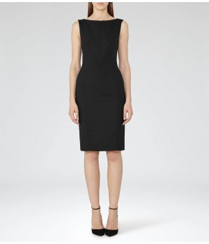 Reiss Dartmouth Dress Black Textured Tailored Dress