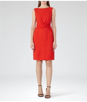 Reiss Erica Cherry Twist-Front Dress