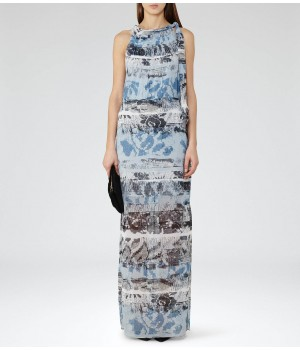 Reiss Ezra Multi Blue Printed Maxi Dress