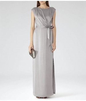 Reiss Hera Soft Grey Belted Gown