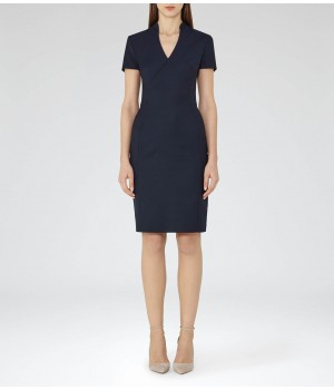 Reiss Indis Dress Navy Tailored Dress